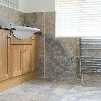 Silver Honed and Filled Travertine Tiles