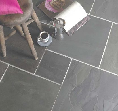 Grey Brazilian Slate Cleft Opus Pattern Tiles